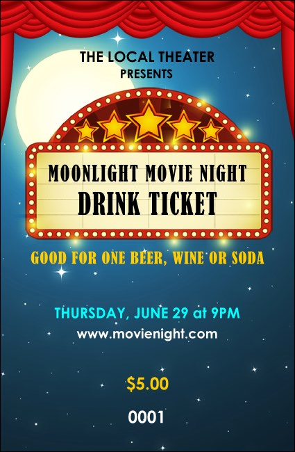 Movie Night Drink Ticket Product Front