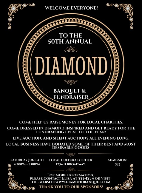 Diamonds Black Invitation