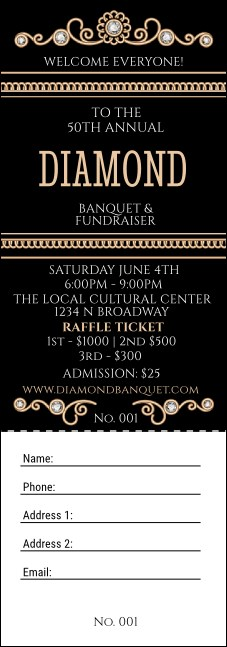 Diamonds Black Raffle Ticket