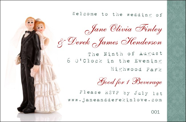 Vintage Bride and Groom Drink Ticket