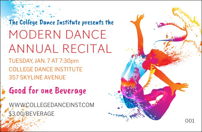 Modern Dance White Drink Ticket
