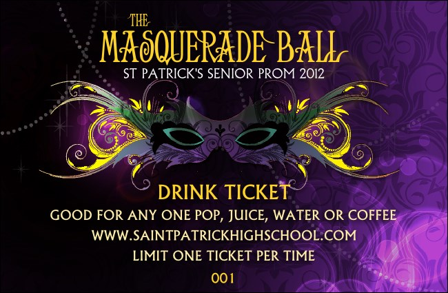 Masquerade Ball Drink Ticket
