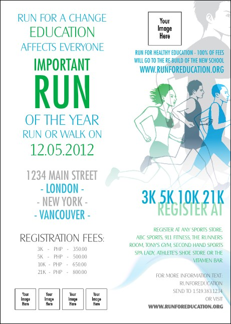 Run for a Cause Blue & Green Club Flyer