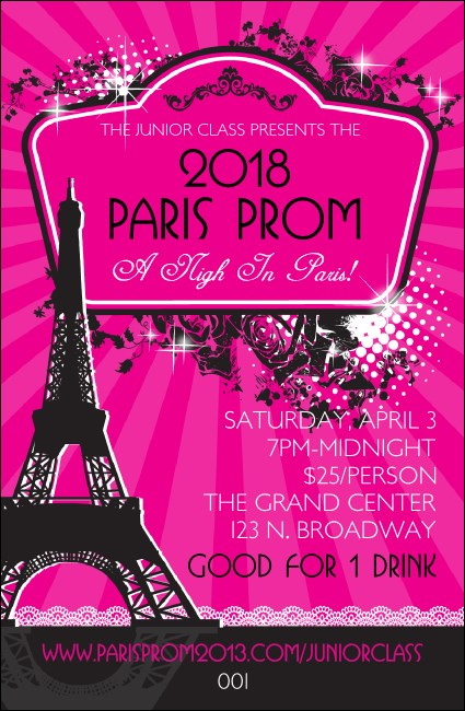 Paris Pink and Black Drink Ticket