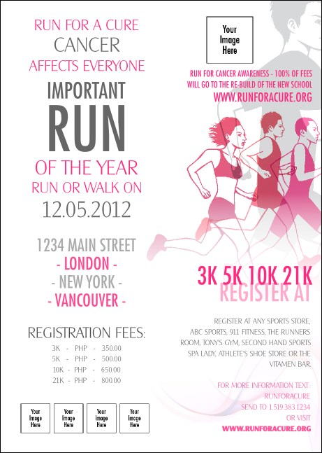 Run for a Cause Pink Club Flyer Product Front