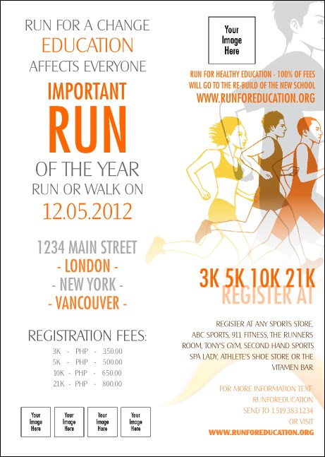 Run for a Cause Orange Club Flyer