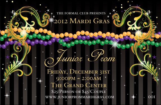 Mardi Gras Beads Drink Ticket
