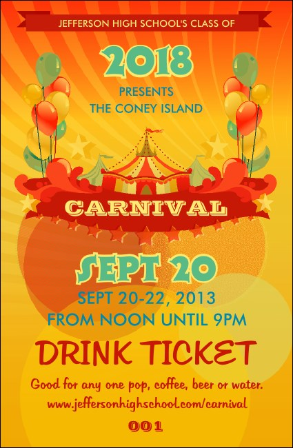Carnival Drink Ticket Product Front