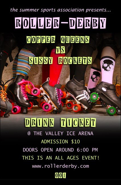 Roller Derby Legs Drink Ticket Product Front