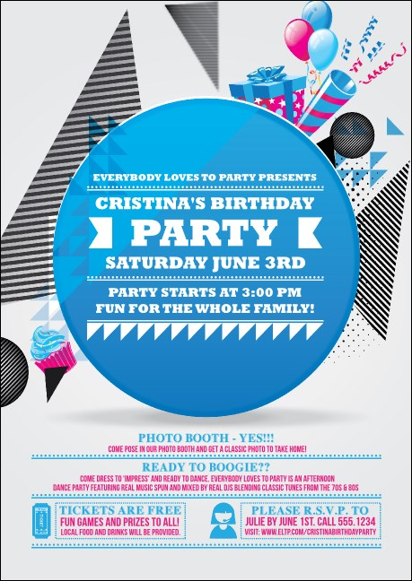 Birthday Party Geometric Club Flyer Product Front