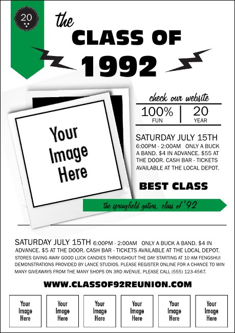 Class Reunion Mascot Green Club Flyer Product Front