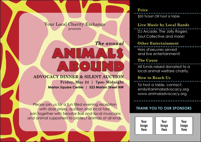 Animal Print Giraffe Club Flyer