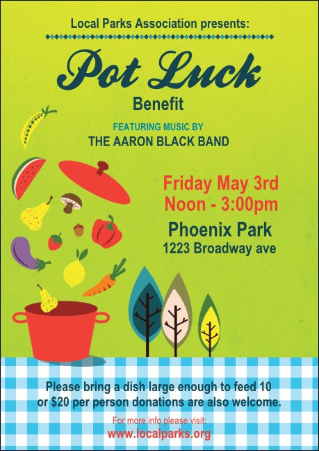 Potluck Benefit Club Flyer